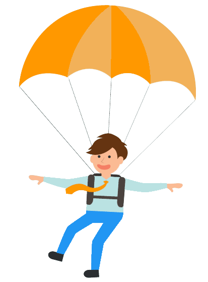 Researcher skydiving to land on the research question